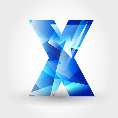 letter x: concept of blue crystalline alphabet, number and symbol Illustration