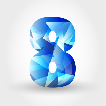 jewell: concept of blue crystalline alphabet, number and symbol Illustration