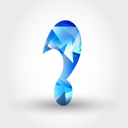 crystalline: concept of blue crystalline alphabet, number and symbol Illustration