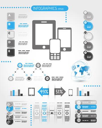 blauw mobiele telefoon ter wereld infographics. infographic begrip