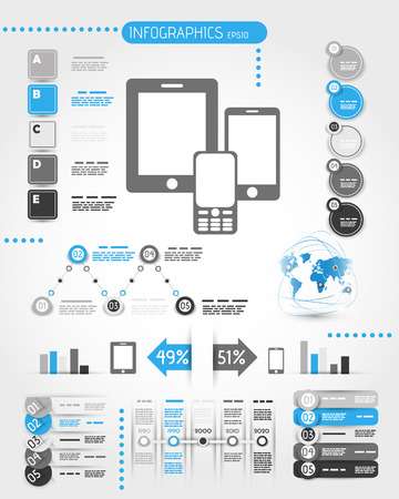 blue mobile phone world infographics.  infographic concept