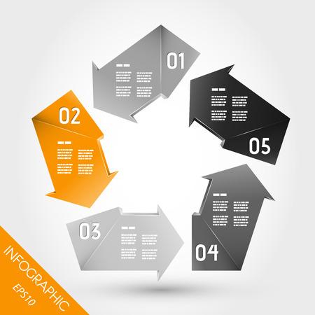 five element: five orange infographic arrows in pentagon. infographic concept. Illustration