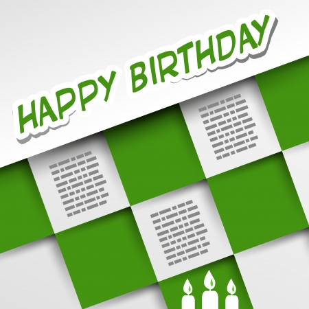 upscale: green birthday card with squares. anniversary concept.