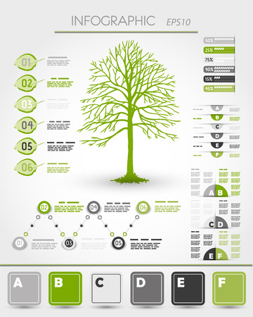 green ecological infographics with tree 版權商用圖片 - 22384476
