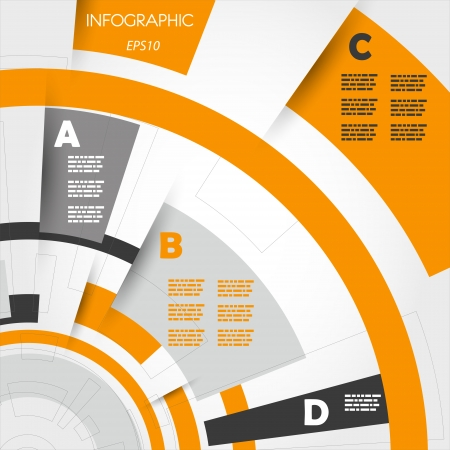 orange abstract technical infographic rings. infographic concept.