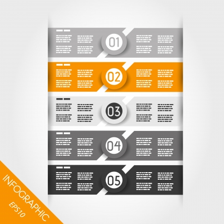 orange and grey infographic labels with rings. infographic concept. Vector
