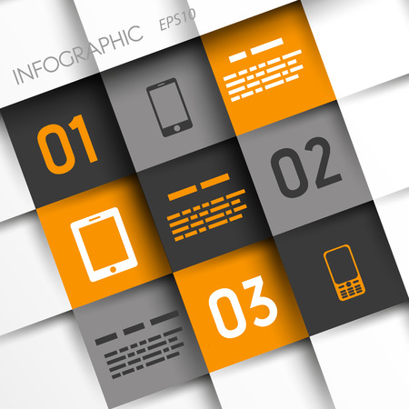 orange and grey infographic squares with mobile icons. infographic concept. Vector