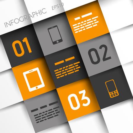 oranje en grijs infographic pleinen met mobiele pictogrammen. infographic concept.