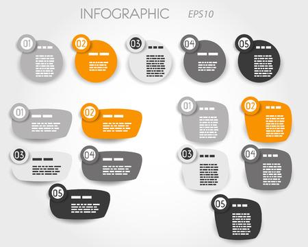 elementos do artigo laranja cinco otpions. conceito infogr
