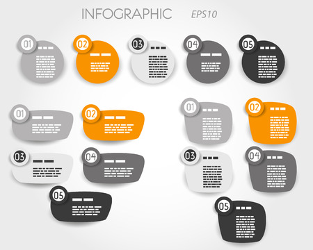 orange article elements five otpions. infographic concept. 向量圖像