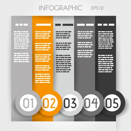 big five: orange column infographic five options in big down rings. infographic concept.