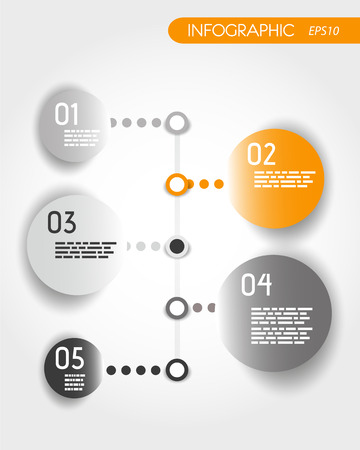 orange dotted timeline with rings. infographic concept. Vector