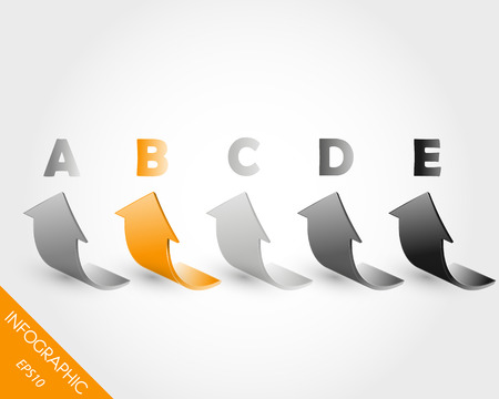 orange five infographic 3D arrows. infographic concept. Vector