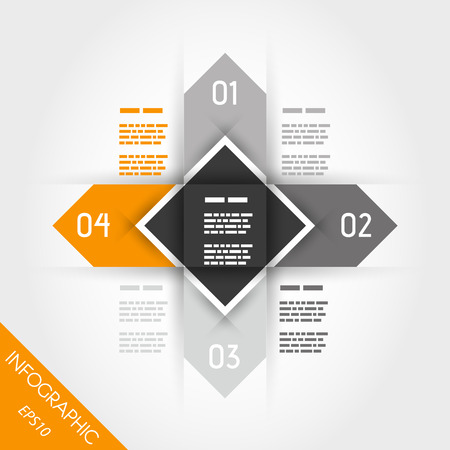 four elements: orange infographics with arrows and square in middle. infographic concept. Illustration