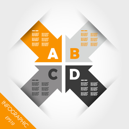 orange infographic four arrows with letters. infographic concept. 向量圖像