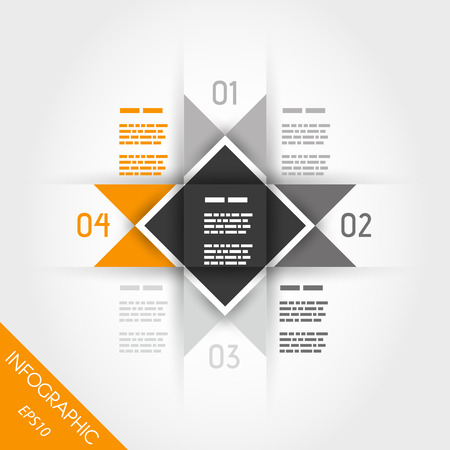orange infographic four multi-triangular template. infographic concept. Vector