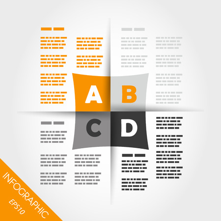 orange infographic four new squares in middle. infographic concept. Vector