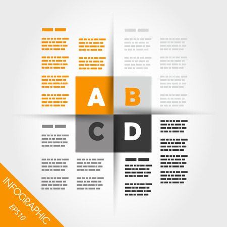 orange infographic four squares in middle. infographic concept. Vector