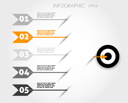 orange infographic with arrows and target. infographic concept Stock Vector - 22298075