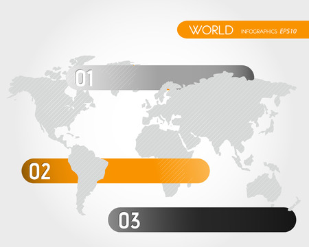 orange infographic world three options. infographic concept. Illustration