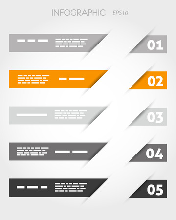 orange oblique stickers with five options. infographic concept. Vector