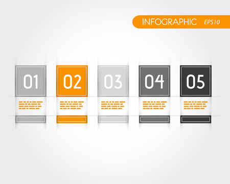 orange square infographics with fringe. infographic concept.