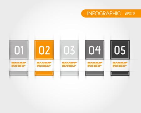 five element: orange square infographics with fringe. infographic concept.