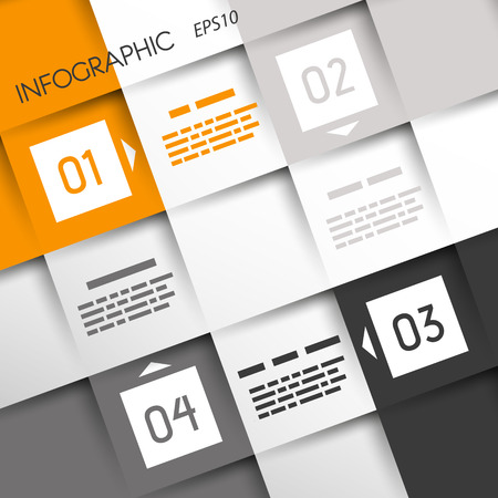 orange square infographic four optionsin corners. infographic concept. Vector