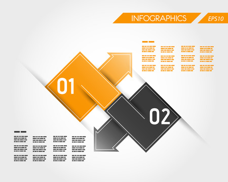 orange square infographic two connected arrows. infographic concept. Stock Vector - 22295173