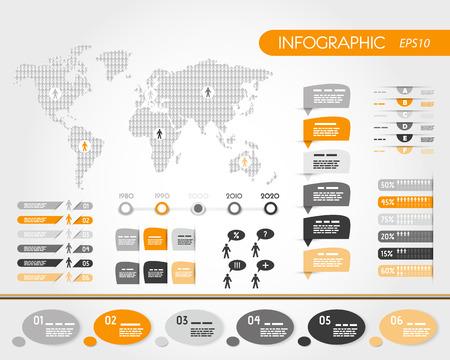 infográficos mundo laranja com as pessoas. conceito infográfico