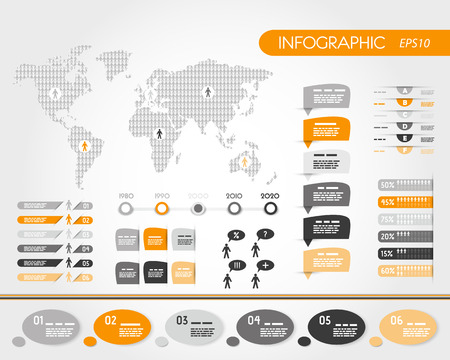 orange world infographics with people.  infographic concept