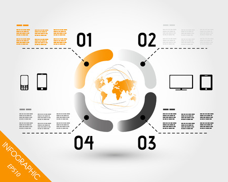 orange world infographic elements in ring. infographic concept. 向量圖像