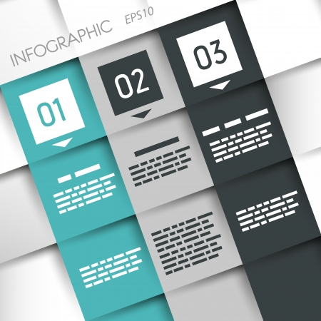 prospectus: square three options turquoise infographic with squares. infographic concept.