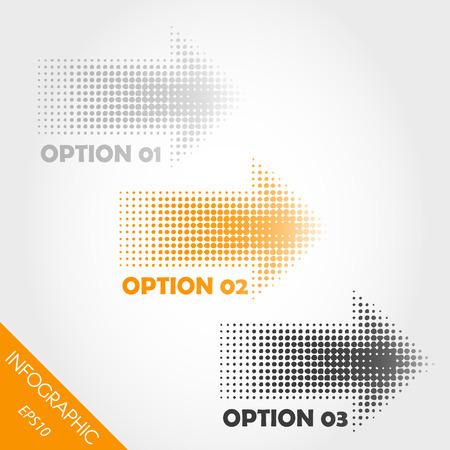 três setas laranja pontilhadas infográfico. conceito infográfico. Ilustra��o