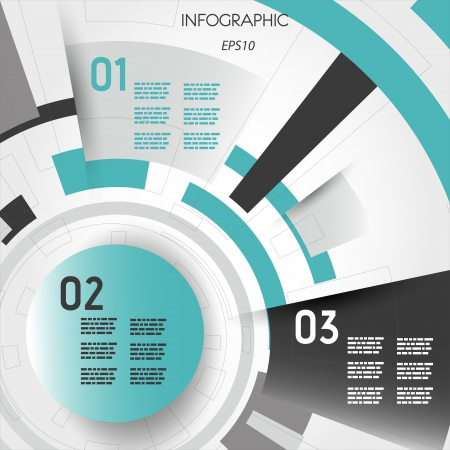turquoise abstract technical infographic layout with rings. infographic concept. Illustration