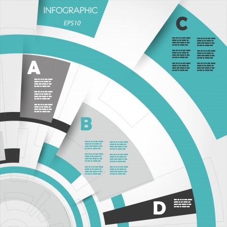 prospectus: turquoise abstract technical infographic rings. infographic concept.