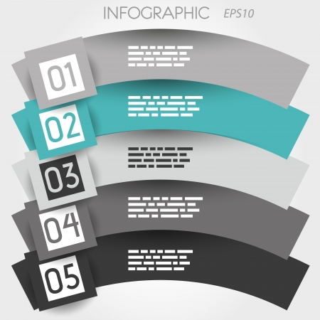 big five: turquoise arc infographic five options in big squares. infographic concept.