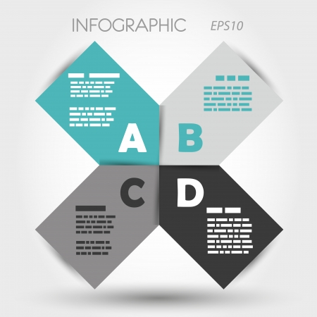 turquoise big infographic x with letters . infographic concept. Vector