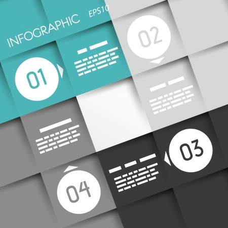 turquoise big square infographic four options with rings. infographic concept. Illustration