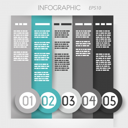 turquoise column infographic five options in big down rings. infographic concept. Vector