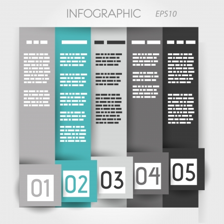 turquoise column infographic five options in big down squares. infographic concept. Vector