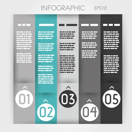 prospectus: turquoise column infographic five options in rings zig zag. infographic concept.