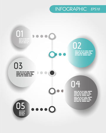 turquoise dotted timeline with rings. infographic concept. Vector