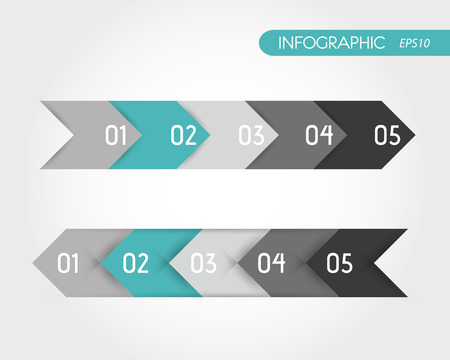 blank newspaper: turquoise infographics set of arrows. infographic concept. Illustration