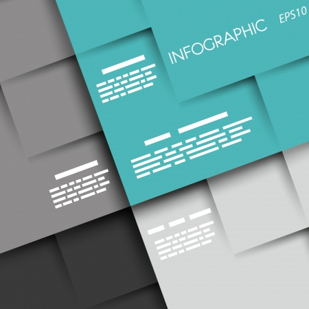 prospectus: turquoise infographic background with squares. infographic concept. Illustration