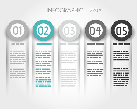 turquoise infographic columns with five options. infographic concept. 向量圖像