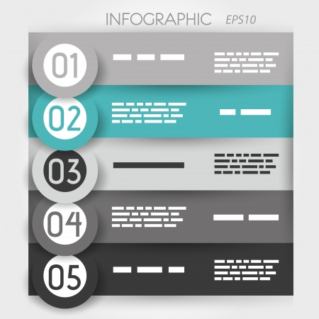 turquoise infographic five options in big rings. infographic concept. Vector