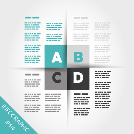 turquoise infographic four squares in middle. infographic concept. Vector