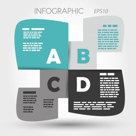 turquoise infographic rounded squares ABCD. infographic concept. Illustration