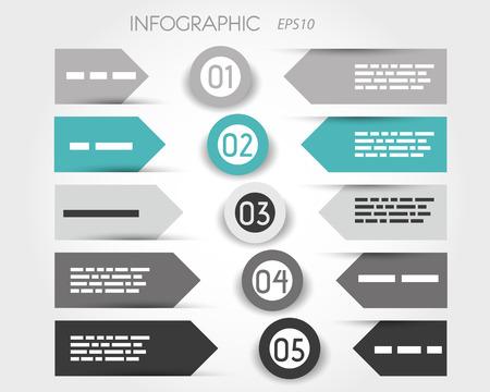 turquoise infographic met labels en ringen in het midden. infographic concept. Stock Illustratie